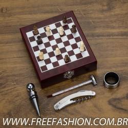 13121 Kit vinho xadrez com 4 peças.