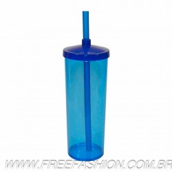 0330 COPO LONG DRINK 330 ML COM TAMPA E CANUDO AZUL NEON