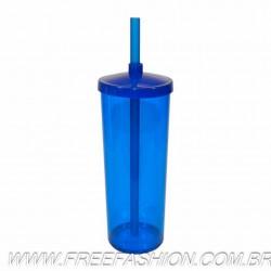 0330 COPO LONG DRINK 330 ML COM TAMPA E CANUDO AZUL TRANSLUCIDO